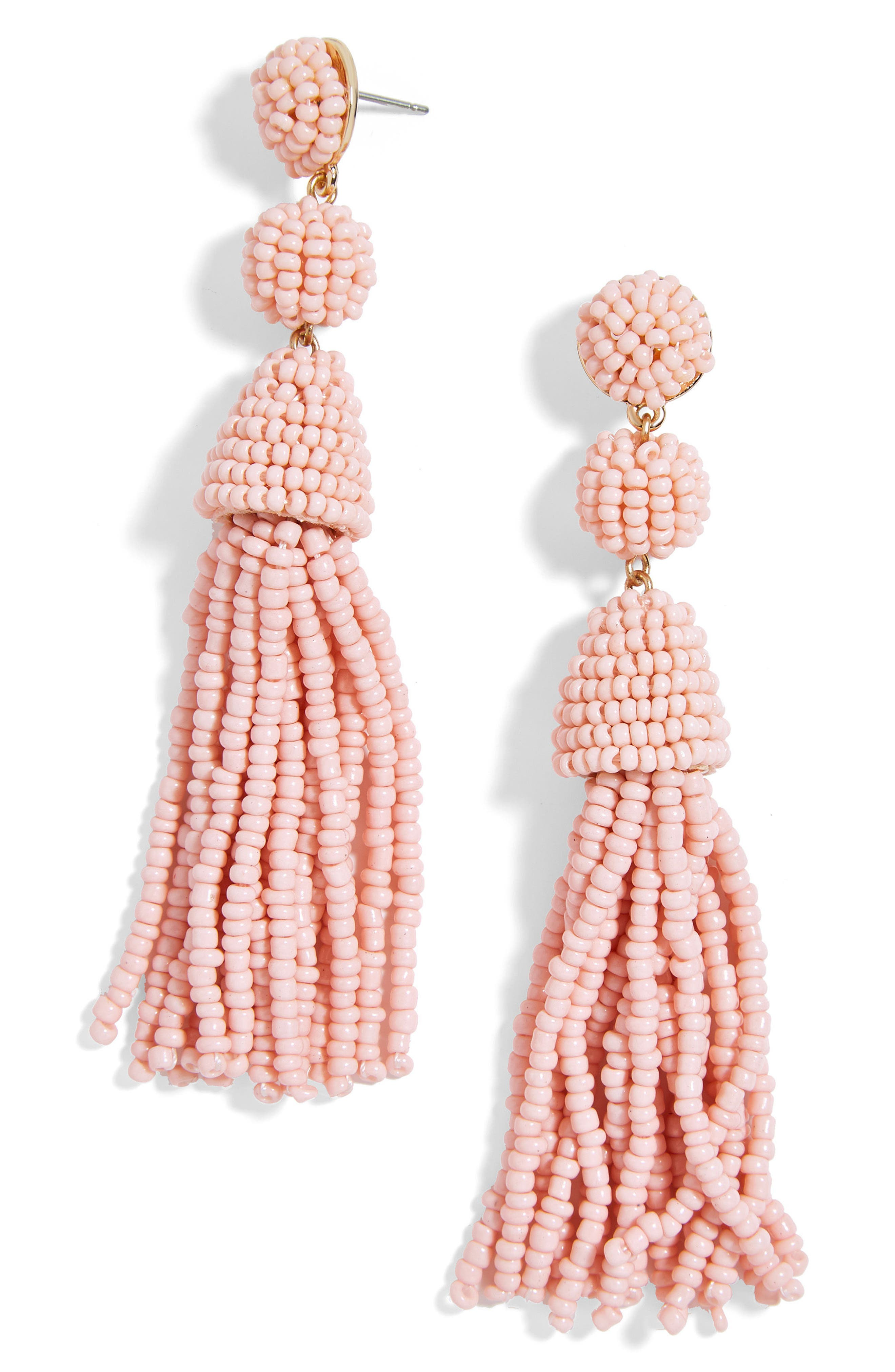 Granita Beaded Tassel Earrings, Main, color, BLUSH