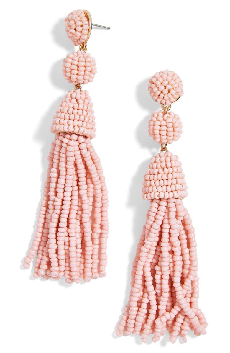 BAUBLEBAR Granita Beaded Tassel Earrings, Main, color, BLUSH