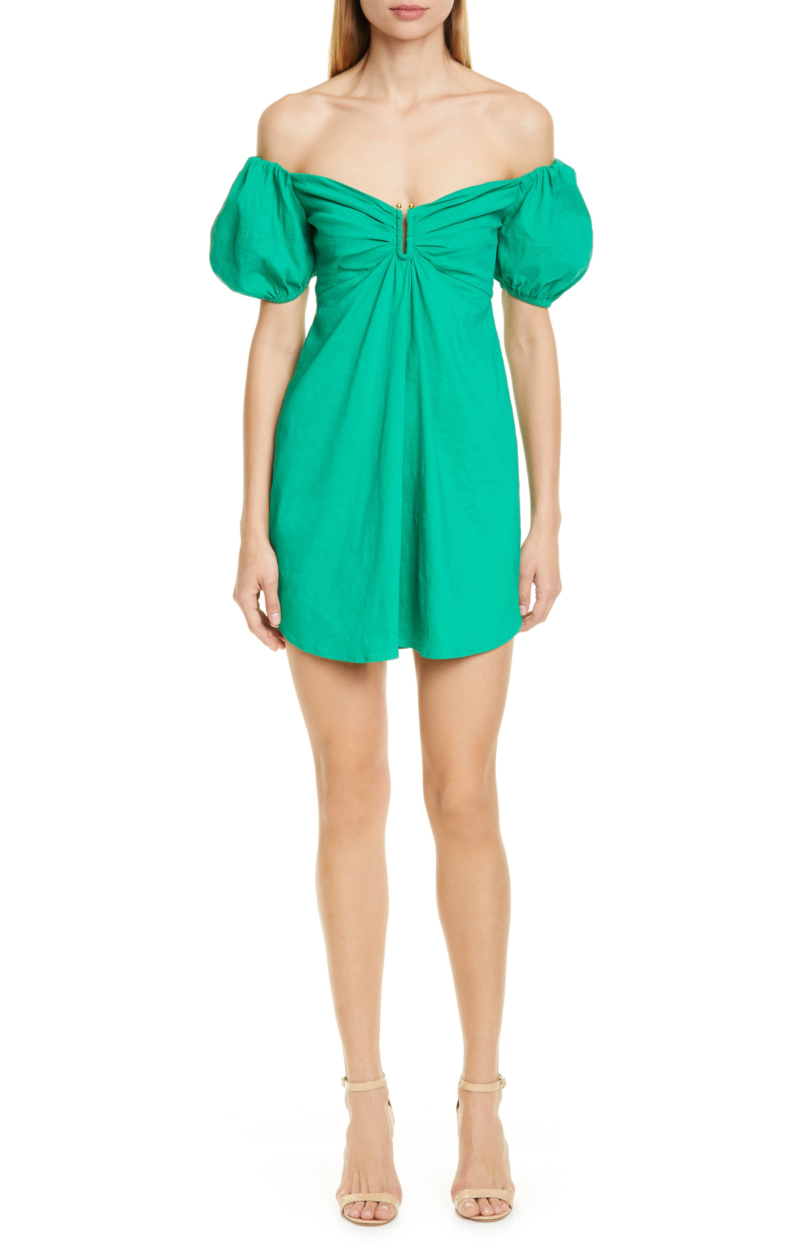 A.l.c. Aniston Off The Shoulder Babydoll Dress, Green