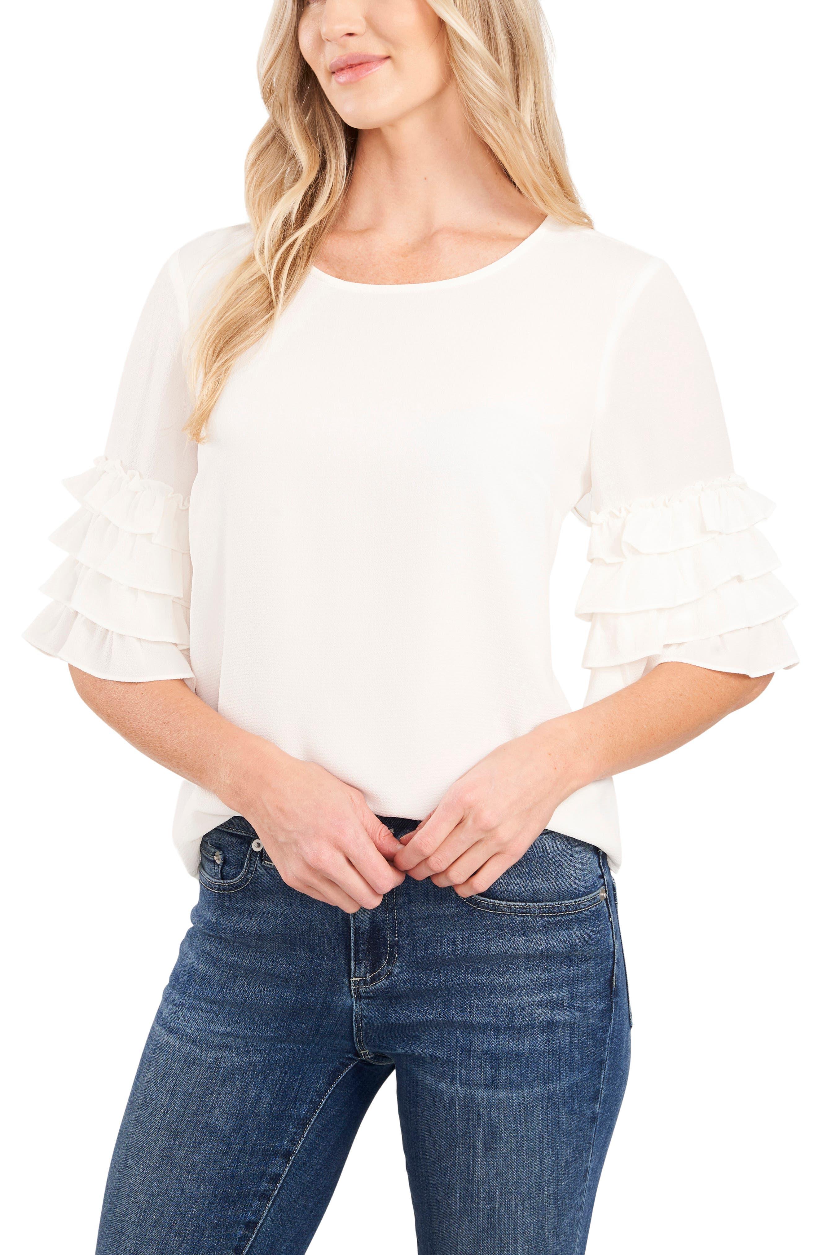 Tiered Ruffle Sleeve Blouse