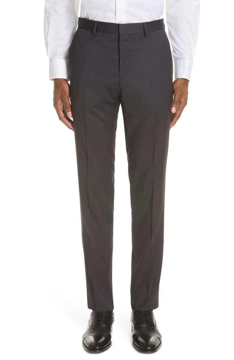 BOSS Genesis Flat Front Slim Fit Solid Wool Dress Pants, Main, color, DARK GREY