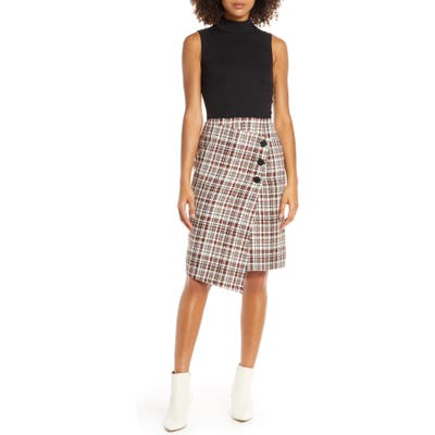 Chelsea28 Ponte Knit & Tweed Sleeveless Dress, Burgundy