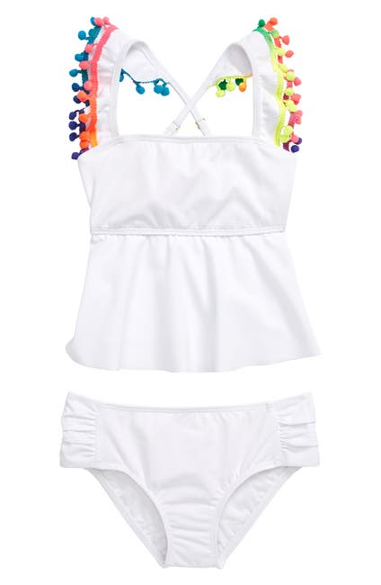 Image of Heart and Harmony Pompom Tankini Two-Piece Swimsuit