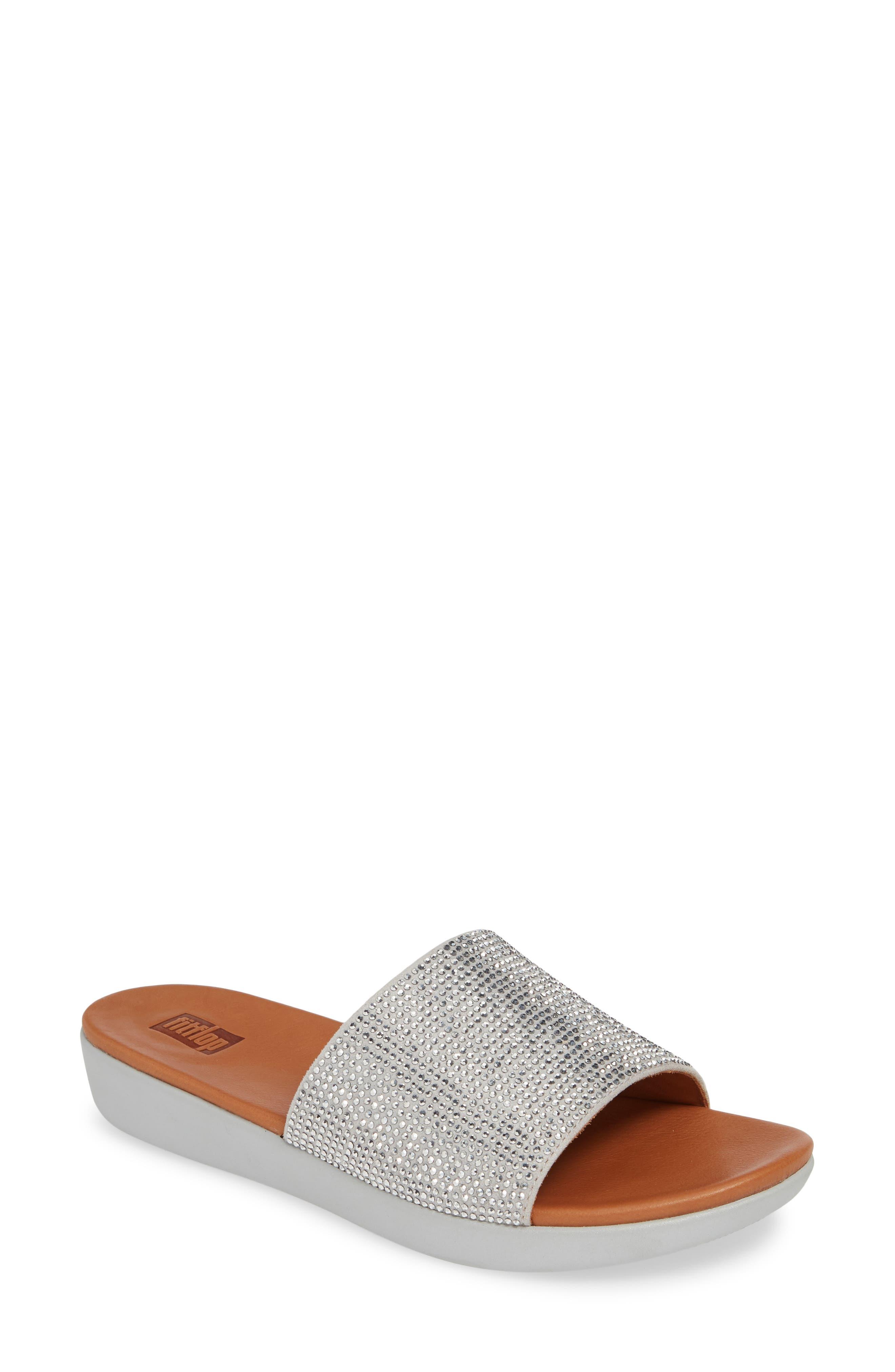 Fitflop Sola Crystalled Slide Sandal, Metallic