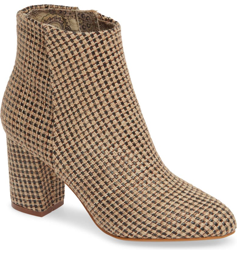 BAND OF GYPSIES Andrea Bootie, Main, color, BLACK/ TAN JUTE FABRIC