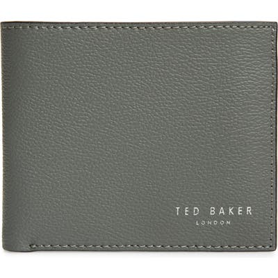 Ted Baker London Fluu Printed Leather Bifold Wallet - Grey