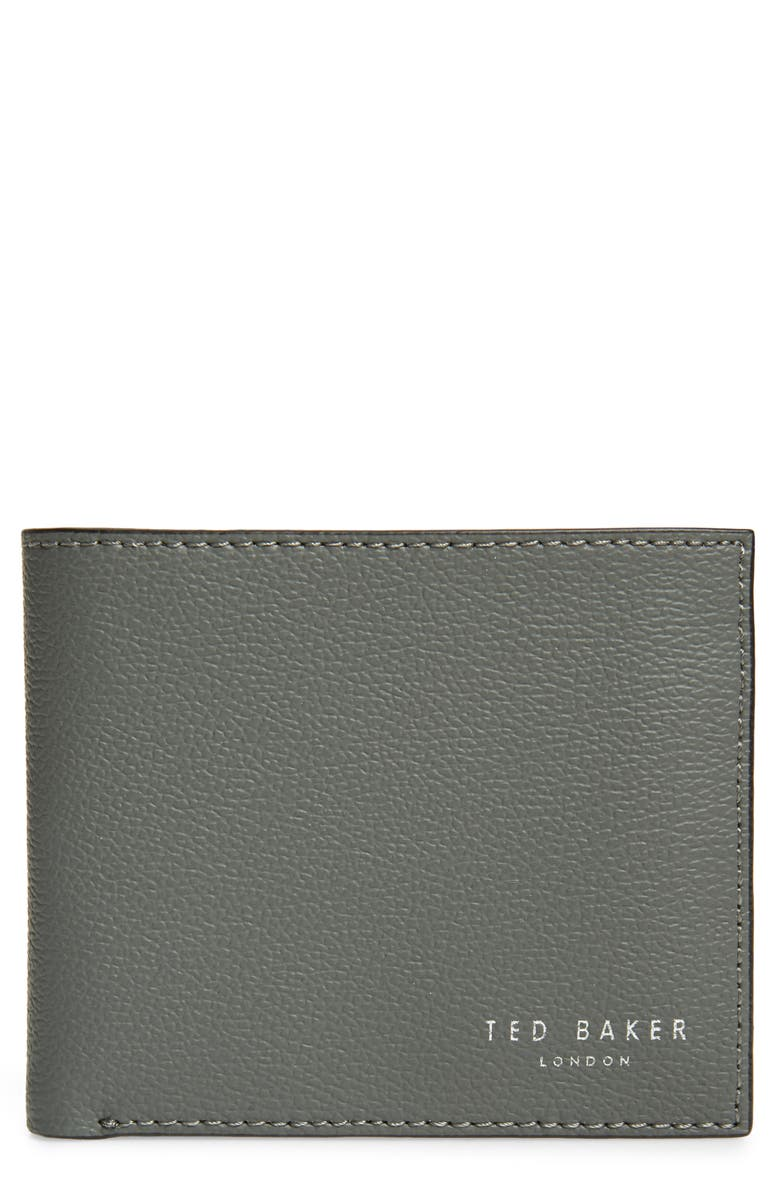 TED BAKER LONDON Fluu Printed Leather Bifold Wallet, Main, color, CHARCOAL
