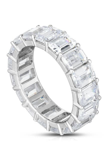 Image of Sphera Milano 18K White Gold Plated Sterling Silver Baguette CZ Band Ring