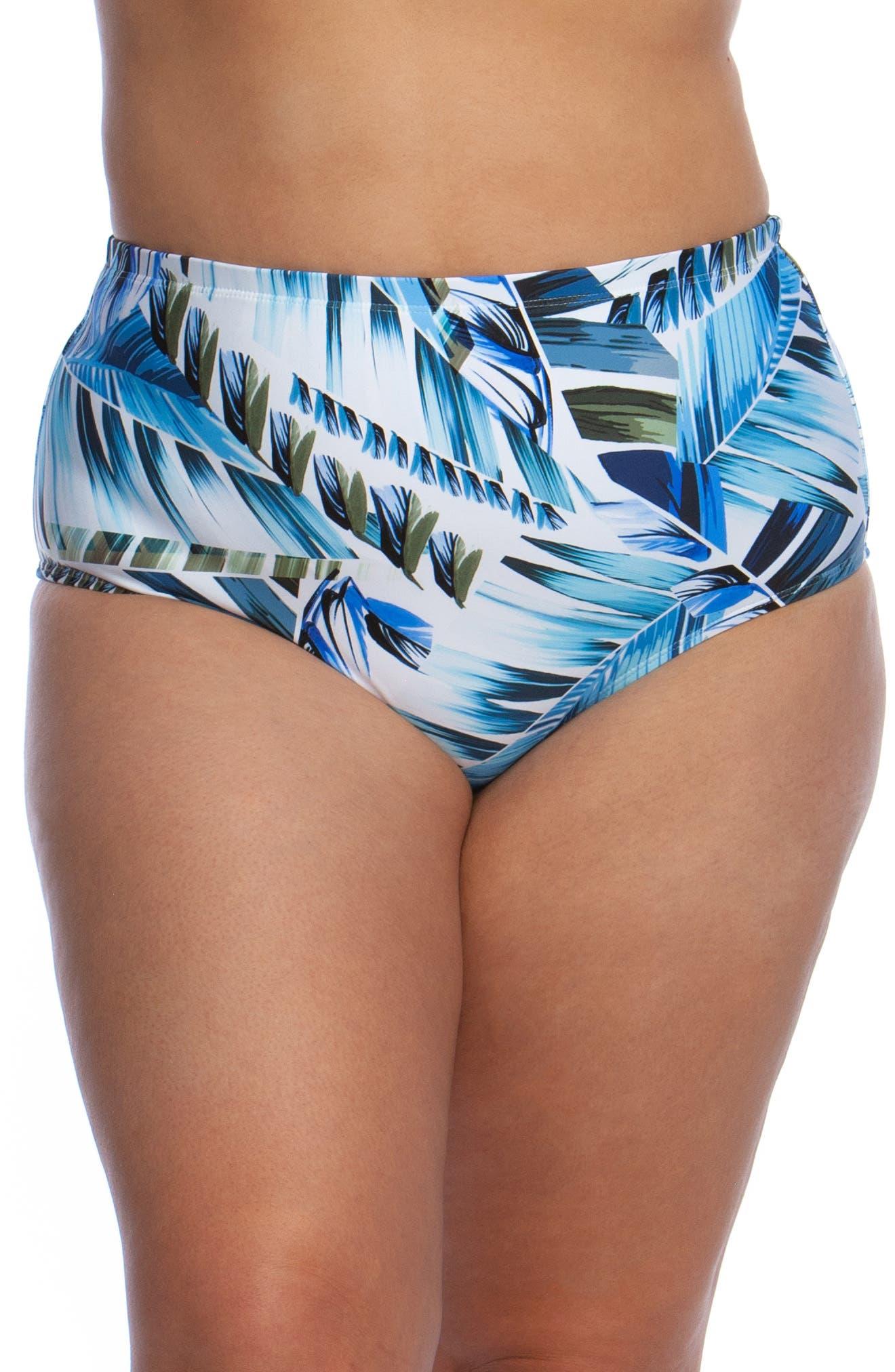 Plus Size La Blanca Two Cool High Waist Bikini Bottoms, Blue
