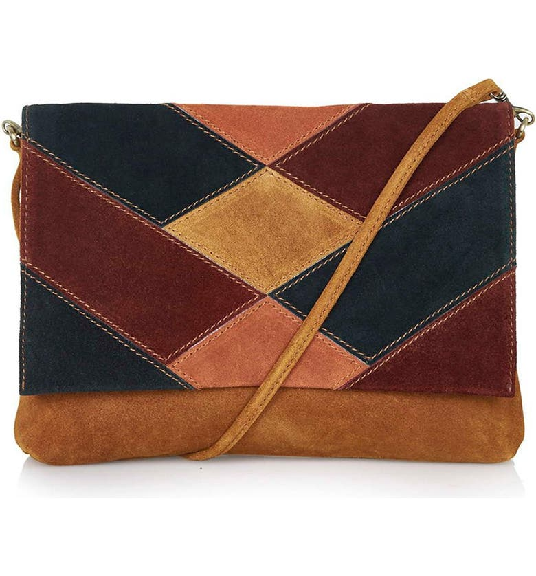 TOPSHOP 'Copfield' Patchwork Suede Bag, Main, color, 200