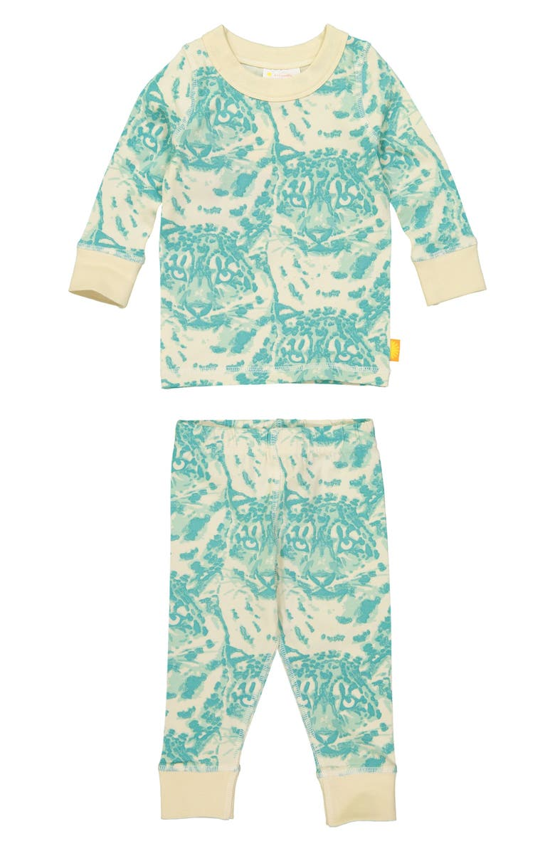 MASALA BABY Cat Camo Organic Cotton Fitted Two-Piece Pajamas, Main, color, 449