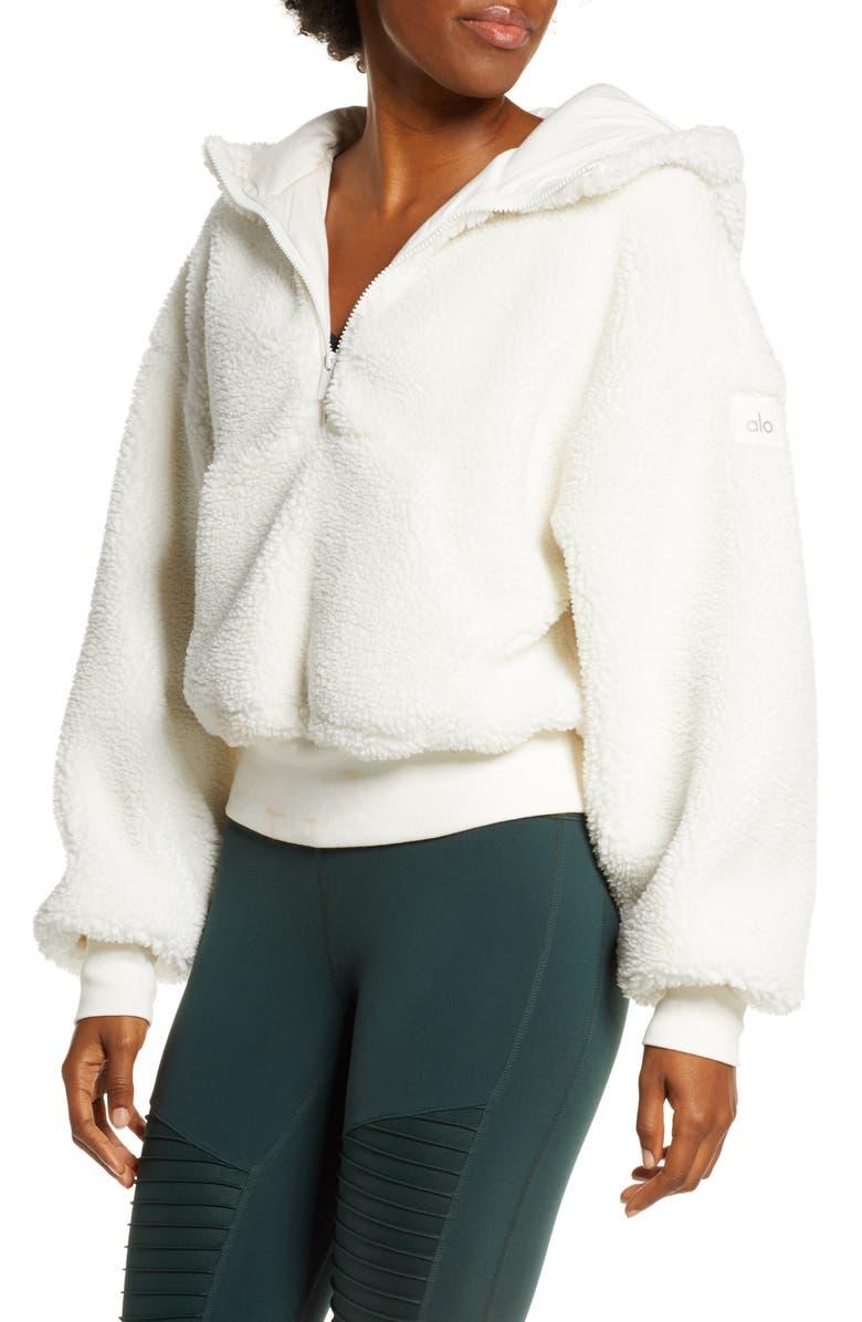 ALO Streetside Half Zip Faux Fur Hoodie, Main, color, PRISTINE