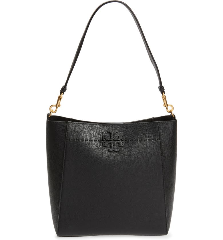 TORY BURCH McGraw Leather Hobo, Main, color, BLACK