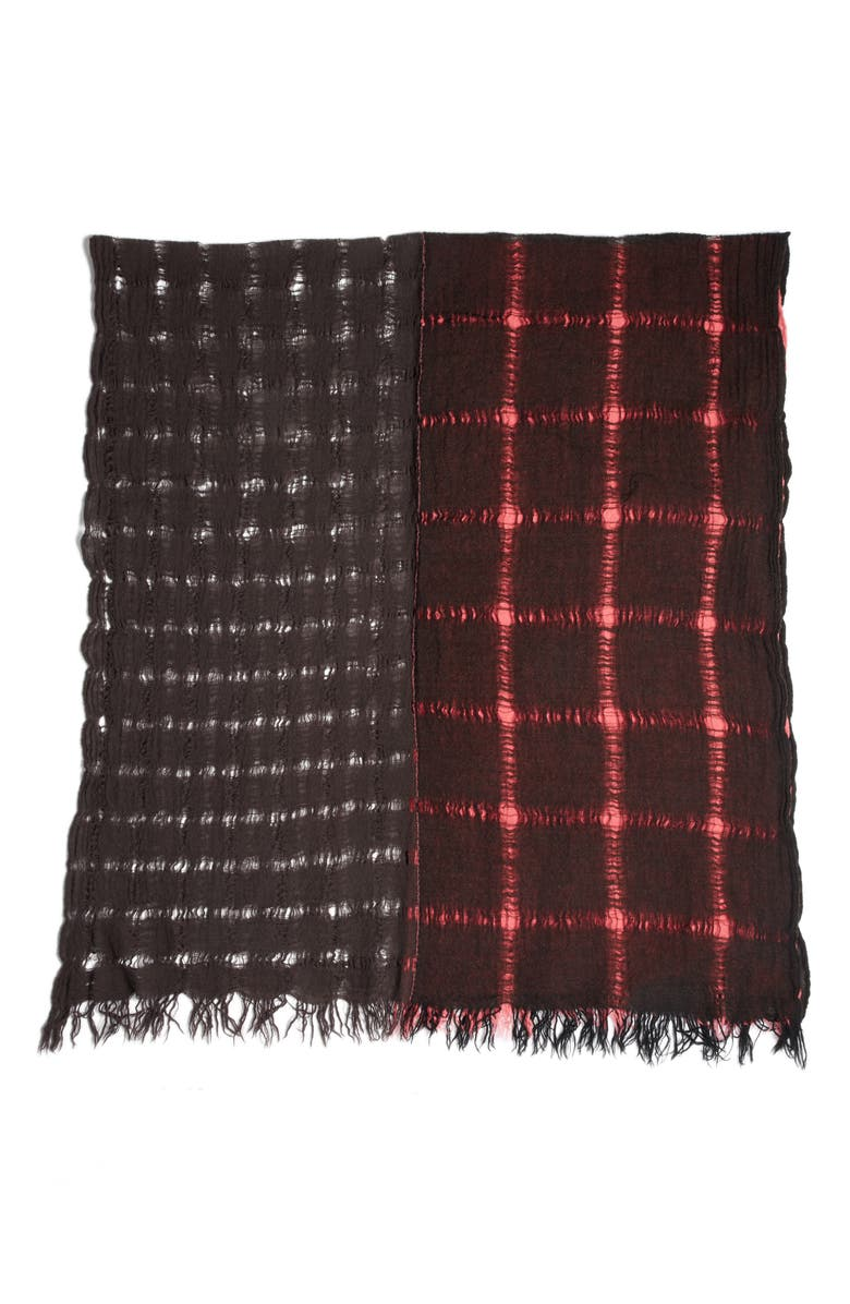 Y'S BY YOHJI YAMAMOTO Triple Layer Wool Scarf, Main, color, BORDEAUX