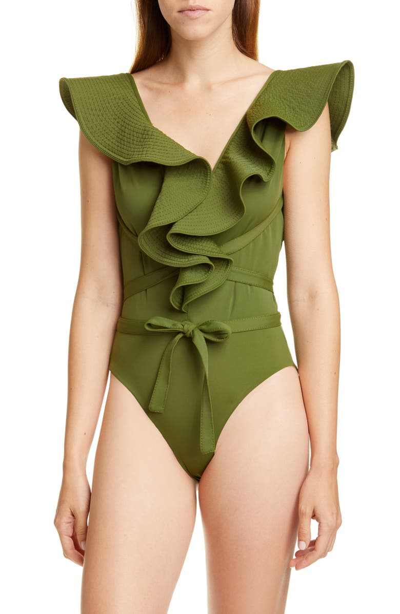 JOHANNA ORTIZ Ruffle Trim One-Piece Swimsuit, Main, color, MILITARY GREEN