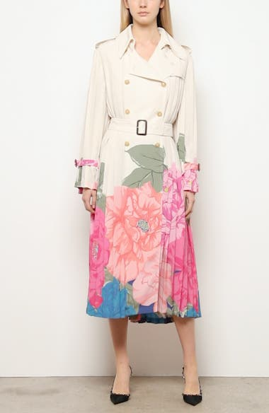 Camellia Pleated Silk Crêpe de Chine Trench, video thumbnail