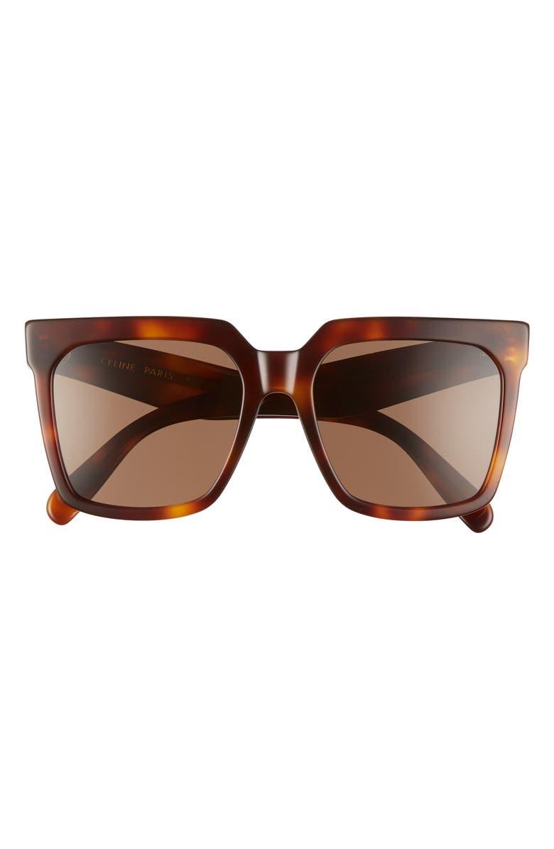 CELINE 55mm Special Fit Polarized Square Sunglasses, Main, color, BLONDE HAVANA/ BROWN