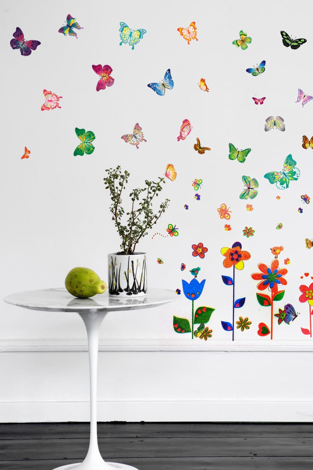 Image of WalPlus Colorful Flowers & Butterflies Decal