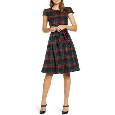 Petite Gibson X Hi Sugarplum! Holiday Joyeux Cap Sleeve Fit & Flare Dress, Red