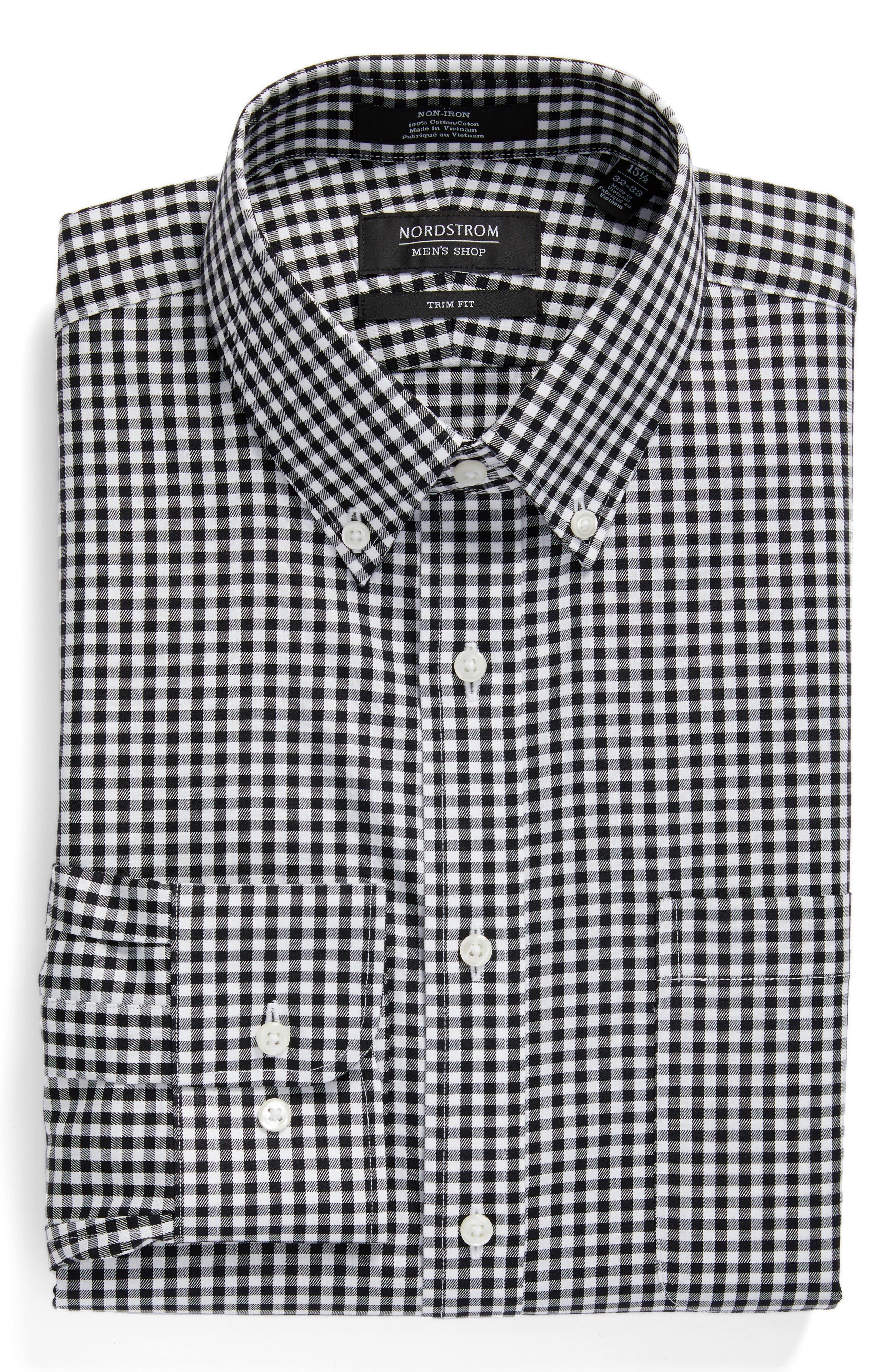 ,                             Trim Fit Non-Iron Gingham Dress Shirt,                             Alternate thumbnail 3, color,                             BLACK ROCK