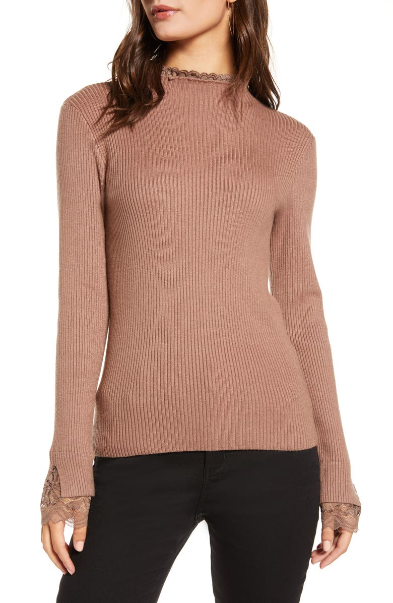 ENGLISH FACTORY Lace Trim Ribbed Sweater, Main, color, CAMEL