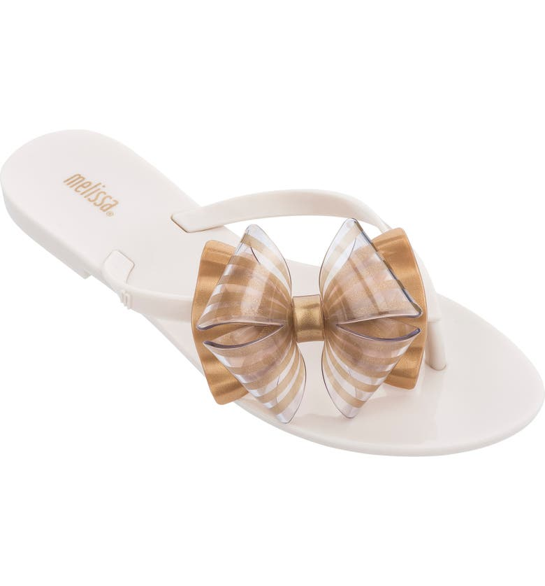 MELISSA Harmonic Bow Flip Flop, Main, color, BEIGE GOLD