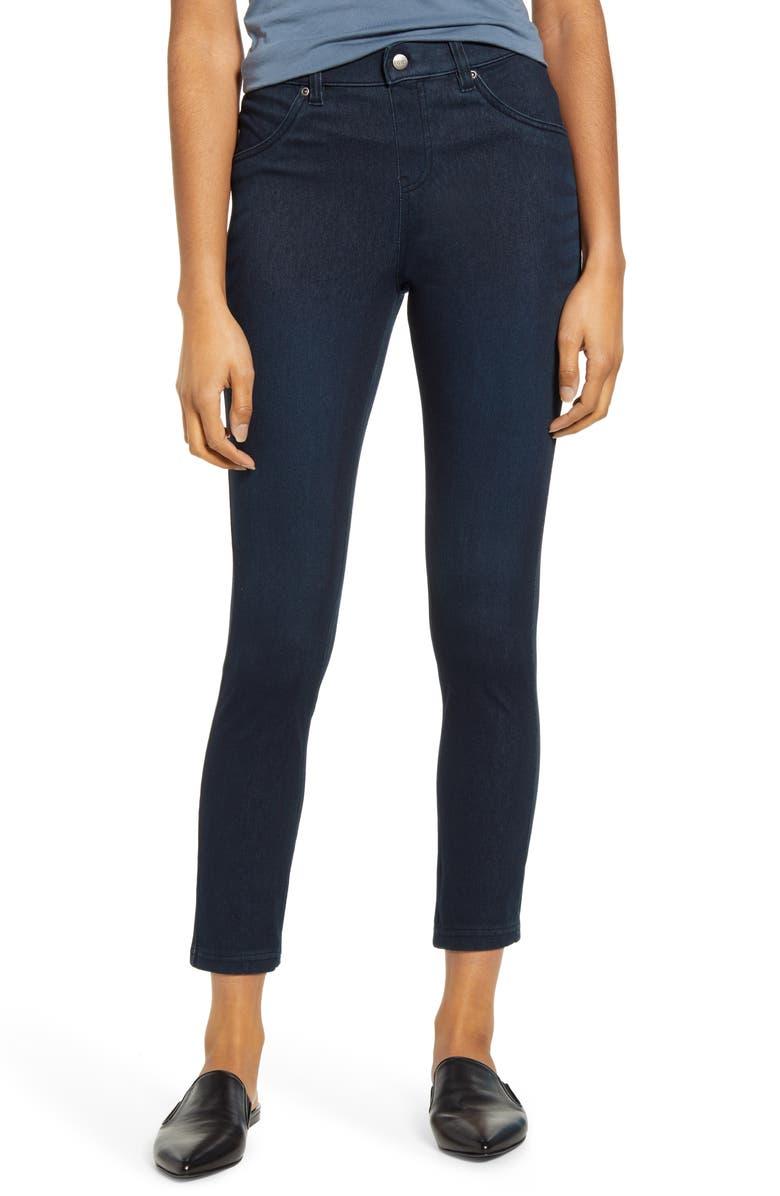 HUE High Waist Ultrasoft Denim Skimmer Pants, Main, color, BLACK INDIGO WASH