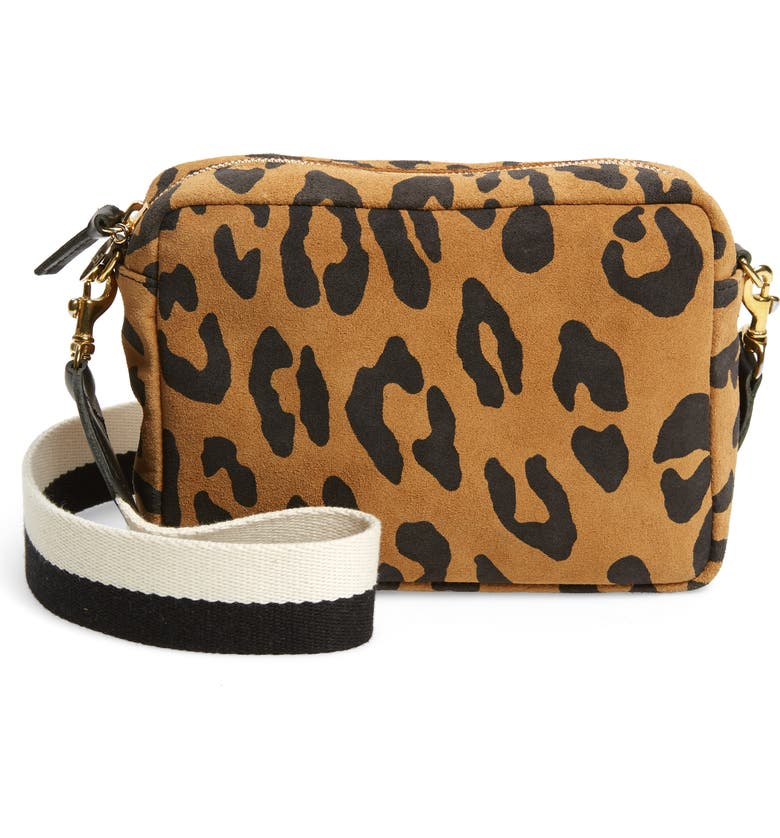 CLARE V. Midi Suede Crossbody Bag, Main, color, TAN PABLO CAT