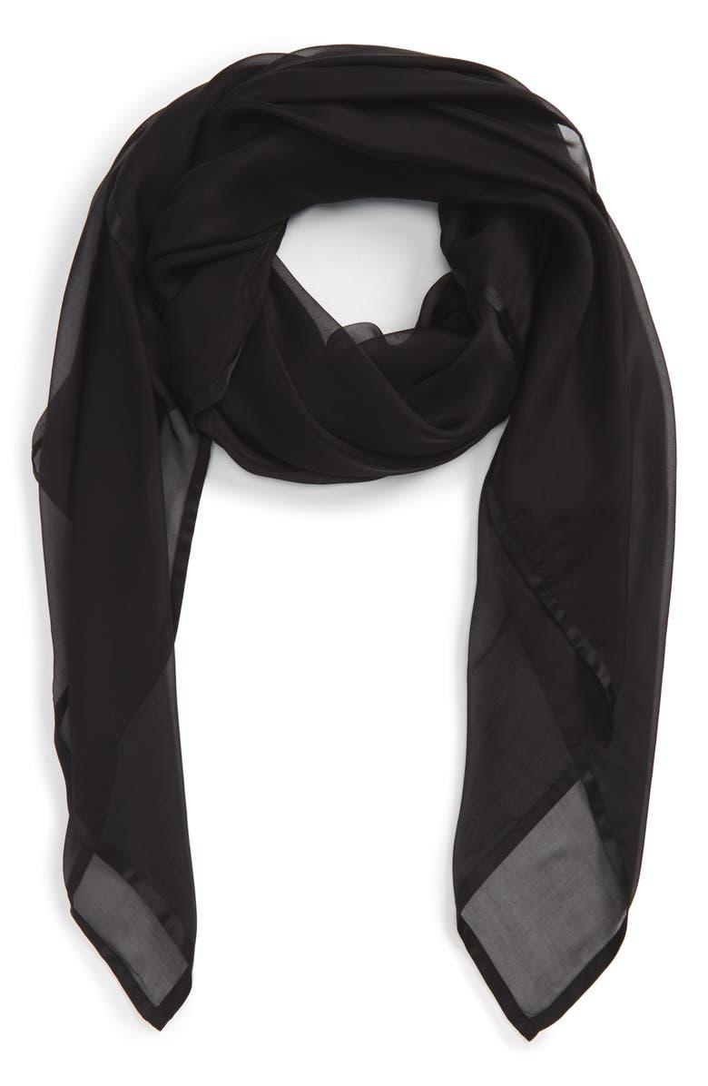 NORDSTROM Satin Border Silk Chiffon Scarf, Main, color, BLACK