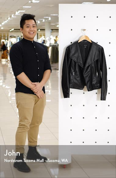 Drape Collar Faux Leather Jacket, sales video thumbnail