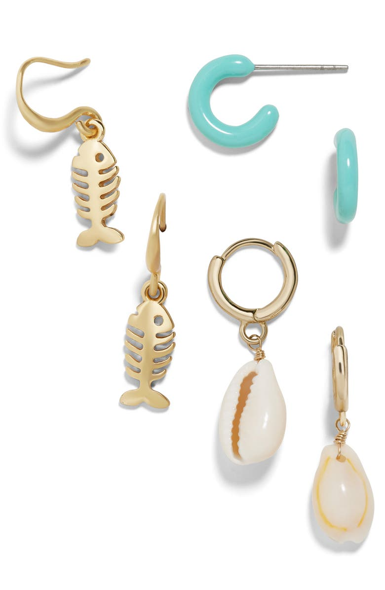 BAUBLEBAR Marine Set of 3 Earrings, Main, color, GOLD MULTI