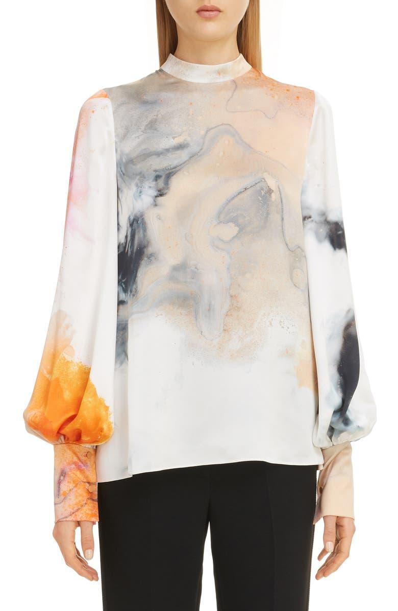 ROKSANDA Print Bishop Sleeve Silk Blouse, Main, color, 900