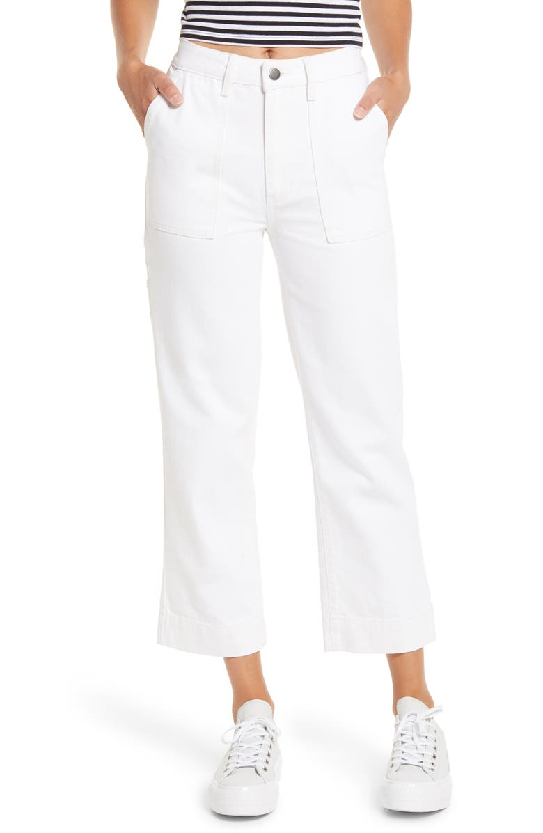 PTCL High Waist Straight Leg Crop Carpenter Pants, Main, color, WHITE