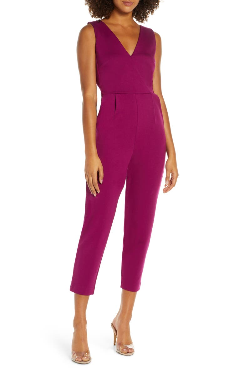 FRENCH CONNECTION Marie Surplice Jumpsuit, Main, color, HOLLYHOCK