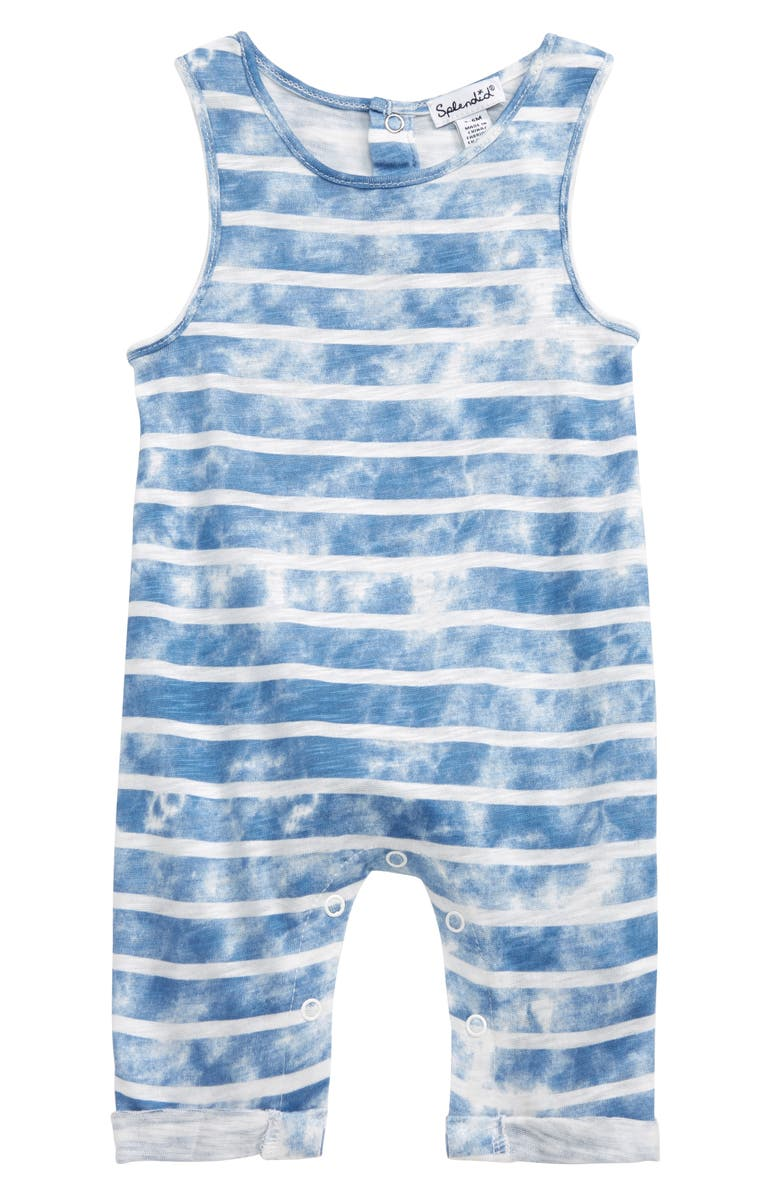 SPLENDID Tie Dye Stripe Romper, Main, color, TAHOE BLUE