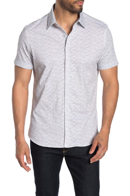 Image of Stone Rose Texture Print Short Sleeve Regular Fit Shirt