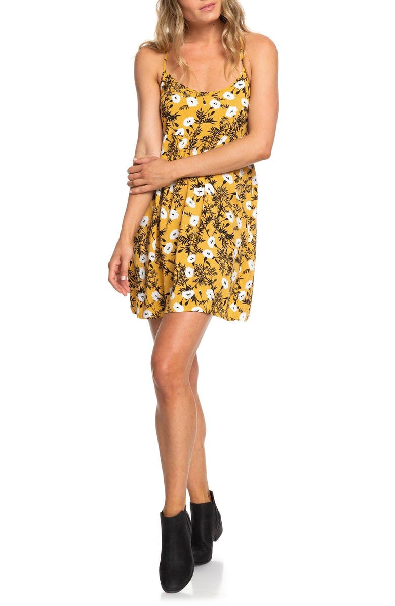 ROXY Tropical Sundance Print Babydoll Dress, Main, color, HONEY GOLD HONEY