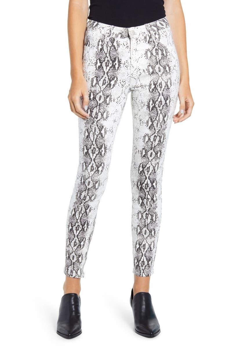 PROSPERITY DENIM Snake Print Skinny Jeans, Main, color, WHITE