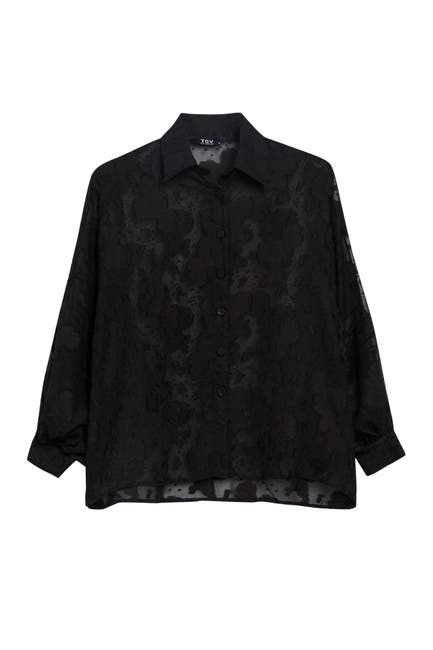 Image of TOV Puffed Sleeve Embroidered Blouse