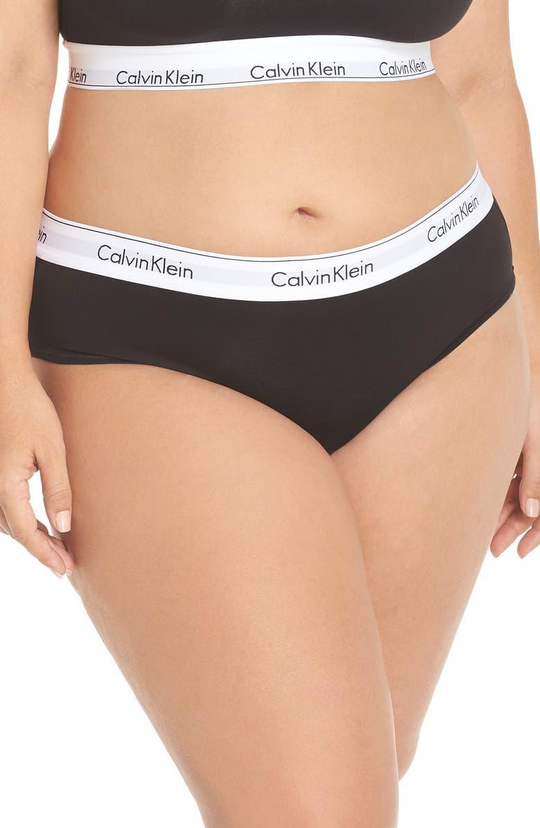 CALVIN KLEIN Modern Cotton Blend Hipster Briefs, Main, color, BLACK