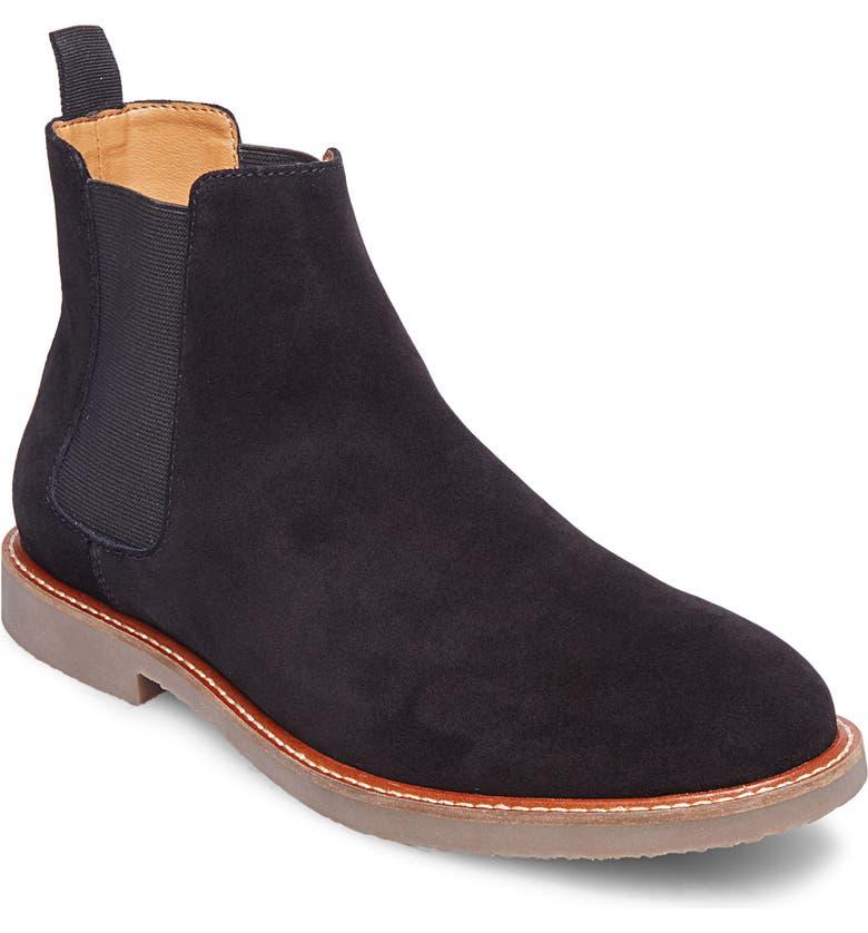 STEVE MADDEN Highline Chelsea Boot, Main, color, BLACK SUEDE