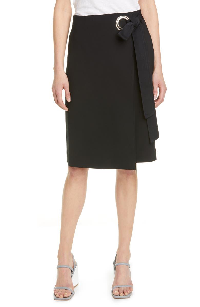 TIBI Bond Stretch Knit Wrap Skirt, Main, color, BLACK
