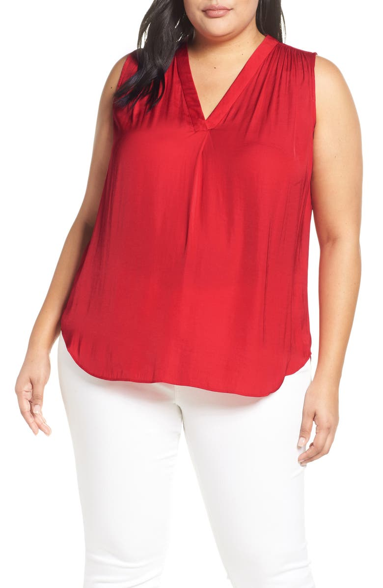 VINCE CAMUTO V-Neck Rumple Blouse, Main, color, FIRESIDE