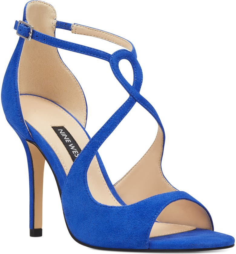 NINE WEST Giaa Strappy Sandal, Main, color, BLUE IRIS SUEDE