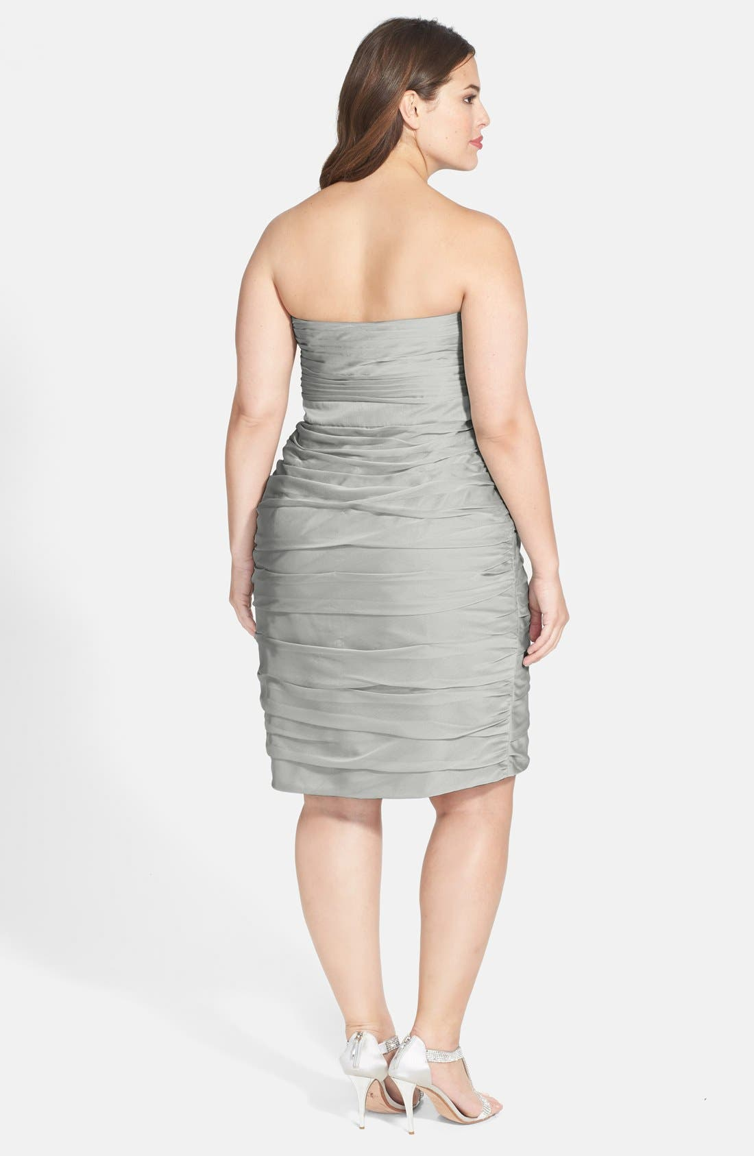 ,                             Ruched Strapless Cationic Chiffon Dress,                             Alternate thumbnail 10, color,                             020