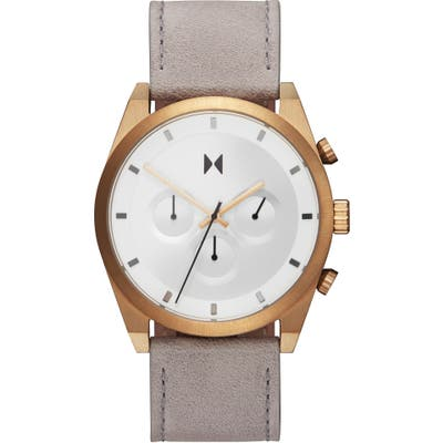 Mvmt Element Chronograph Leather Strap Watch, 4m