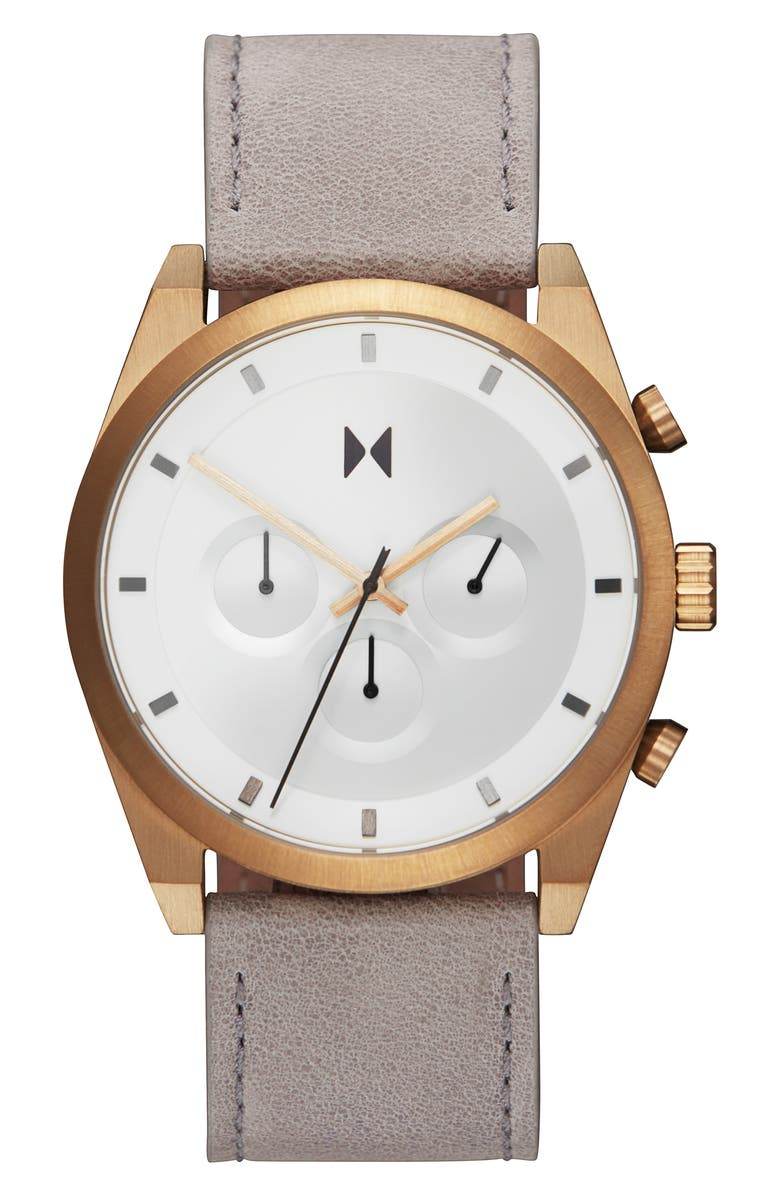 MVMT Element Chronograph Leather Strap Watch, 44mm, Main, color, GREY/ WHITE/ GOLD