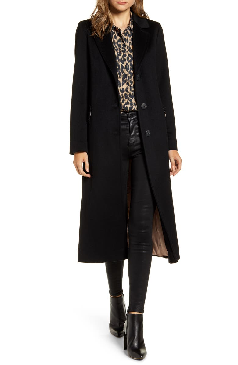 FLEURETTE Notch Collar Wool Maxi Coat, Main, color, BLACK