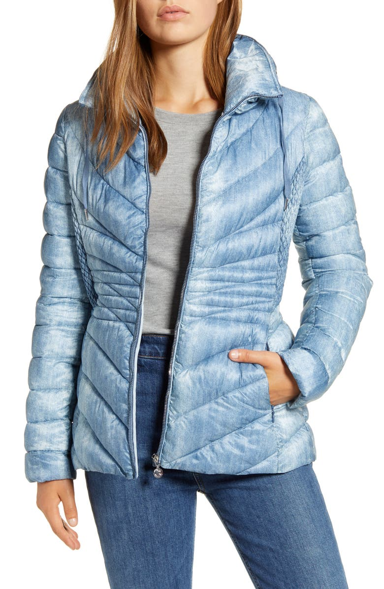 BERNARDO Down & EcoPlume Hooded Denim Puffer Jacket, Main, color, BLUE DENIM