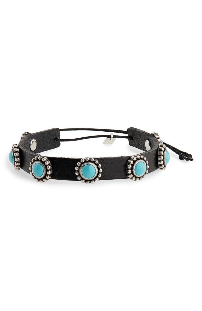 SAINT LAURENT Cabochon Leather Bracelet, Main, color, 404
